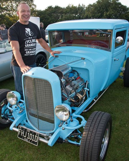 Jo Botting with his slightly modified 1930 Model A pick up at Redhill classic car meet. Picture: