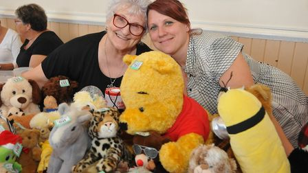 Pam Vincent and Natalie Eldergill with the tombola teddies in aid of Bristol Heart FoundationSummer