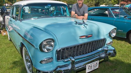 Ray Barnard and his 1955 Chevy Bel Air at Weston Classic car show in Grove Park. Picture: MARK AT