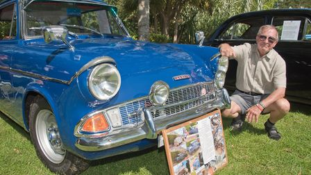 John Clements with his Ford Anglia 105E from 1960 at Weston Classic car show in Grove Park. Pictu