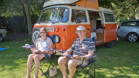 """Roy and Sue Fisher with their VW Bay-front camper """"Daffy"""" at Weston Classic car show in Grove Park."""