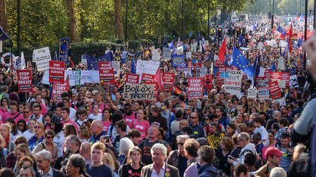 Protesters march through central London in October last year demanding another EU referendum. Pictur