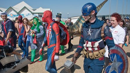 Stars of Time Comicon parade along the seafront. Picture: MARK ATHERTON