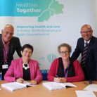 BNSSG CCG and Sirona chief executives Julia Ross and Janet Rowse signing the contract with Sirona ch