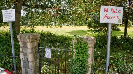 Ellenborough Park West with the gates locked. Council is thinking of taking it over. Picture: MAR