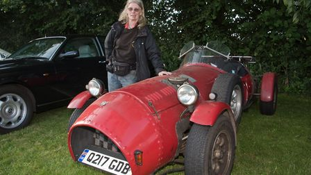 Maggie Shapland with her Moss Monaco at Redhill classic car meet. Picture: MARK ATHERTON