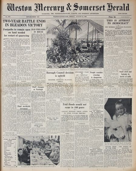 Front Page 22nd August 1969 Edition. Picture: WESTON MERCURY