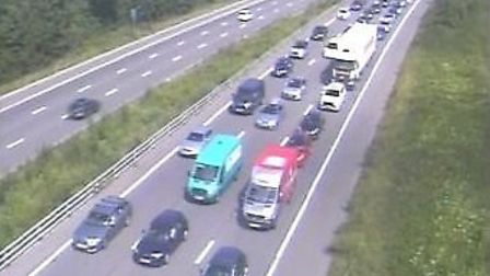 The accident is causing delays on the M5 this afternoon. Picture: Highways England