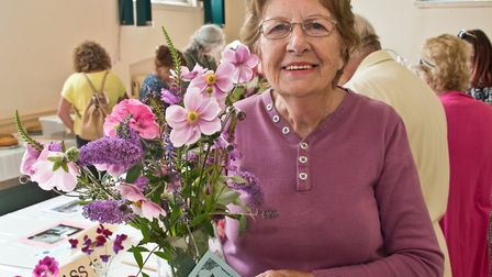 Pauline Jefferies with her prize winning vase of garden flowers at Wrington annual show. Picture: