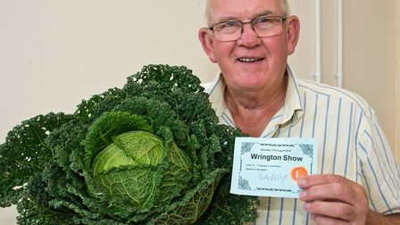 Nick Baker and his Savoy cabbage at Wrington annual show. Picture: MARK ATHERTON