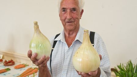 John Lee with his prize winning onions at Wrington annual show. Picture: MARK ATHERTON