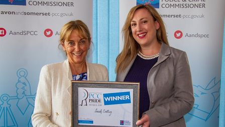 Cllr Sarah Codling presented with her award by PCC Sue Mounstevens. Picture: Jeff Searle