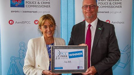 Nick Smith presented with his award by PCC Sue Mounstevens. Picture: Jeff Searle