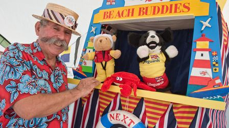 Jon Yabsley with the RNLI's Beach Buddies, brought to life by Geoff Vian. Picture: MARK ATHERTON