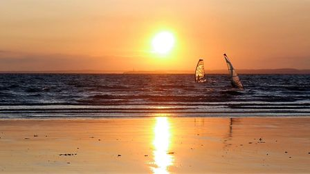 Windsurfers take advantage of Westons calm waters.Picture: Terry Kelly
