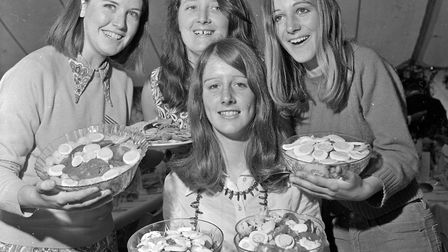 Four young helpers, Joy Vowles, Carol Byrne and Anne and Julia Cockayne at Wedmore Harvest Home.