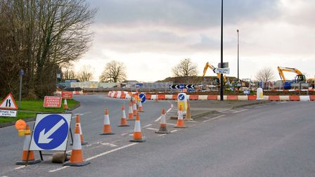 Roadworks at Arnolds Way roundabout.
