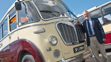 Mark Withers with His 1956 Bedford SB. Bus and steam rally at The Helicopter Museum. Picture: MAR