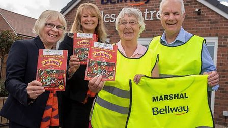Bellway's Lynn Roberts and Rachael Spencer with carnival organisers, Midge Lillie and Nigel Mathewso