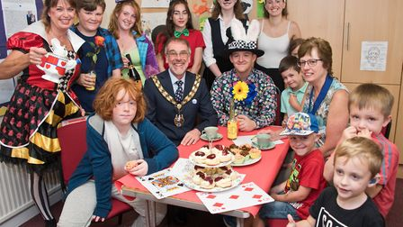 Burnham Mayor and Mayoress Andy and Lorna Brewer with fundraisers at Mad Hatters.Picture: MARK ATHER