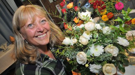 Cathy Mayne with her green and white arrangement Barrow Gurney Flower Show17,08,19