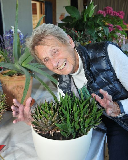 Wendy Thayer with her succulentBarrow Gurney Flower Show17,08,19
