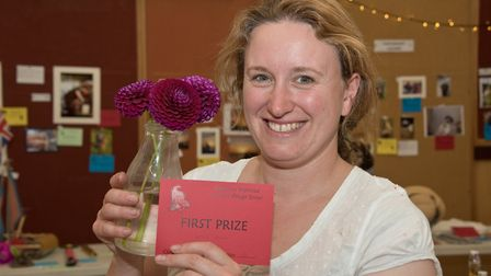 Katie Esler with her prize winning flowers at Kingston Seymour Village Show. Picture: MARK ATHERT