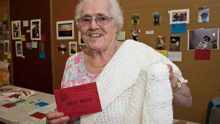 A beautiful knitted shaw won Olive Lawrence a first prize at Kingston Seymour Village Show. Pictu