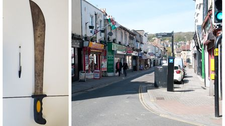 Left, the machete seized. Right, Orchard Street (stock image). Pictures: Avon and Somerset Constabul