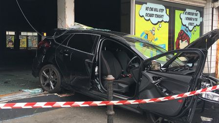 A car has crashed into TJ Hughes. Picture: Henry Woodsford