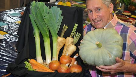 Paul Thorne pictured with his vegetable selection.Picture: Jeremy Long