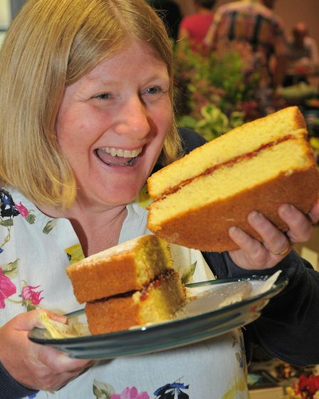 Alison Thorne is thrilled with her Victoria sponge at Bleadon Summer Show.Picture: Jeremy Long