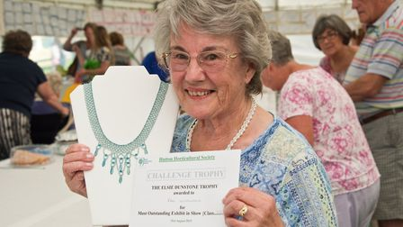 Most Outstanding Exhibit in Show was awarded to Pam Woodland for her jewellery exhibit. Hutton Horti