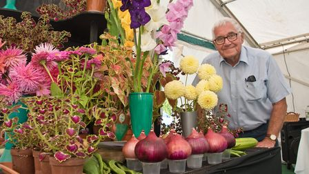 Dave Rock and his display of flowers and vegetables at Hutton Horticultural Society Show. Picture