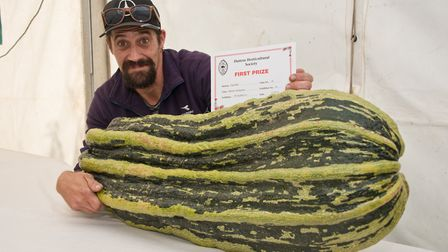 Stephen Lee winner of the heaviest marrow at Hutton Horticultural Society Show. Picture: MARK ATH