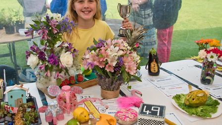 Scarlett Davidson with some of her prize winning exhibits at Hutton Horticultural Society Show. P