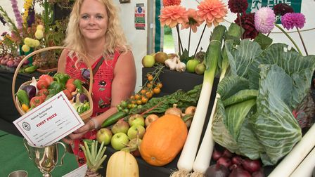 Prize winner Christine Gardener at Hutton Horticultural Society Show. Picture: MARK ATHERTON
