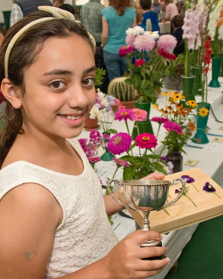 Nastaram Karima with the Freda Porter Cup at Hutton Horticultural Society Show. Picture: MARK ATH