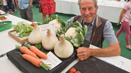 Bill Maggs and his impressive collection of vegetables at Hutton Horticultural Society Show. Pict