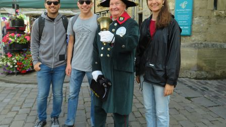 The youth exchange students with the town crier in Wells. Picture: Cheddar Vale Lions
