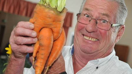 Steve Parkinson with his novelty carrott.