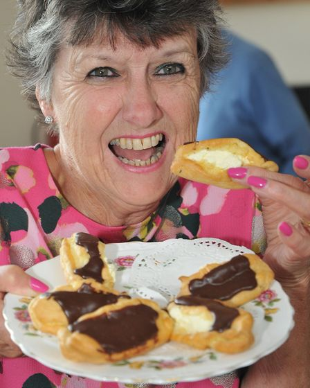 Jacki Parkindon with her homemade eclairs.