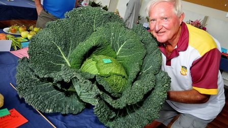 Barry Taylor with his giant cabbage.