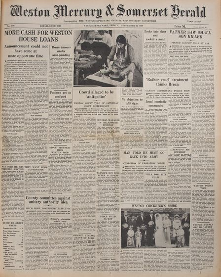 Front Page 12th September 1969 Edition. Picture: WESTON MERCURY