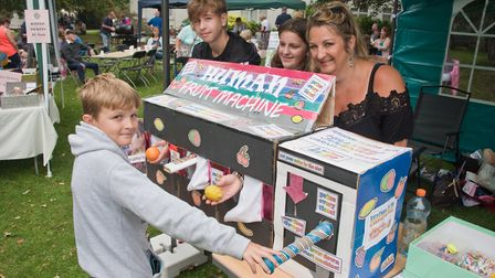 Hillview Junior Carnival Club Human Fruit Machine at the Manor Gardens family fun day. Picture: