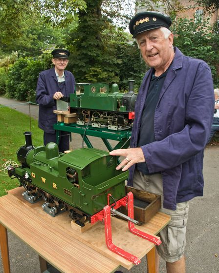 West Huntspill Model Engineering Society with their steam engines on display at the Manor Gardens fa