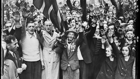 A crowd of fascist supporters in London giving the Nazi salute, October 1937. Picture: Getty Images