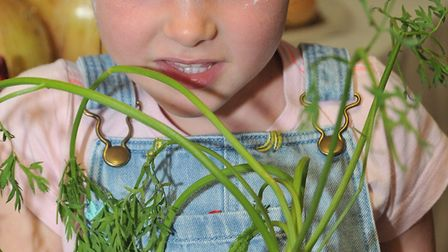 Holly Ashman with her carrot bug creation.Picture: Jeremy Long