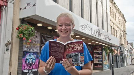 Samantha Ball outside Weston Playhouse to launch of her book marking 50 years since the theatre reop