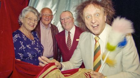 Ken Dodd checking out the new tabs and silvers provided by the Friends of Weston Playhouse, pictured